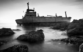 wreck, rock, cranes machine, ship, shipwreck, monochrome