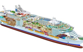 illustration, schematic, transparency, drawing, ship, Oasis of the Seas