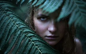 girl, wet, face, model, leaves, water drops