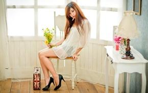 see, through clothing, girl, sitting, Asian, model