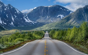 summer, nature, trees, road, mountains, shrubs