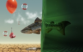 Photoshop, balloon, water, fish, Spec Art