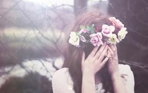 girl outdoors, flower in hair, brunette, covering face, girl