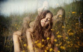 distortion, brunette, flowers, field, girl, girl outdoors