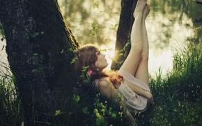 brunette, trees, barefoot, girl, girl outdoors, looking away