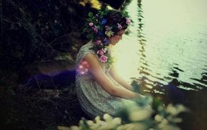 girl outdoors, girl, lens flare, flower in hair, water
