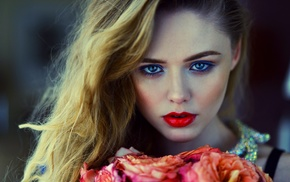 red lipstick, girl, looking at viewer, face, blue eyes, flowers