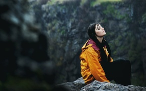 orange jacket, introvert, wet hair, closed eyes, girl, sitting