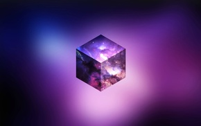 abstract, CGI, cube, purple, space