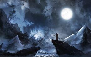 night, snow, fantasy art, hunter, Moon