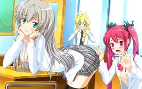 open shirt, pink eyes, Nyaruko, Haiyore Nyaruko, san, blonde