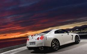 Nissan GTR, Nissan, city, mountains, road, car
