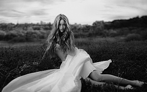 white dress, Dasha Romanchenko, model, Georgy Chernyadyev, monochrome, blonde