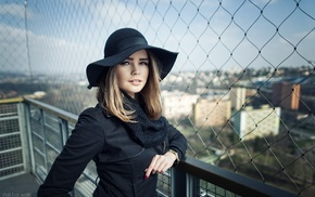 hat, black clothing, rooftops, depth of field, portrait, blonde