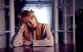 table, long hair, redhead, blue eyes, musician, sweater