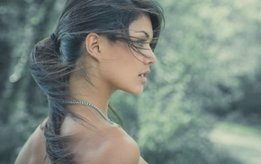 bare shoulders, looking away, girl outdoors, windy, girl, ponytail