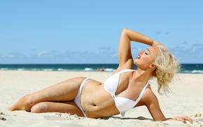 girl, sand, girl outdoors, beach, model, blonde
