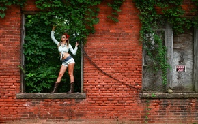 urban, girl outdoors, model, girl, bricks, wall