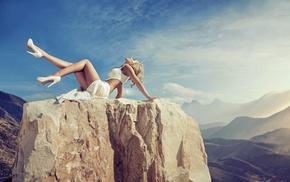girl, high heels, rock, model