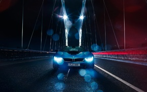 bridge, car, vehicle, rain, BMW, BMW i8