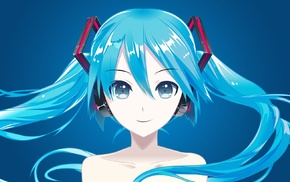 Hatsune Miku, blue hair, vector, simple background