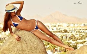 skinny, girl, hat, rock, brunette, bikini