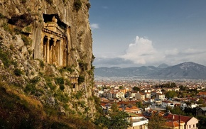 mountains, rock, cityscape, trees, architecture, building