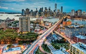 long exposure, New York City, light trails, evening, street, ship