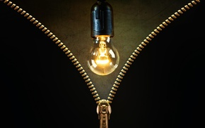 lightbulb, scratches, zippers, gold, black background, lights