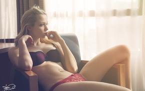 blonde, chair, Simone Favilli, lingerie, looking away, finger on lips