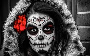 Dia de los Muertos, flowers, girl, selective coloring, Sugar Skull