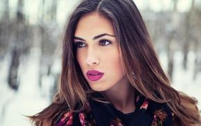 girl, brown eyes, looking away, girl outdoors, winter, brunette