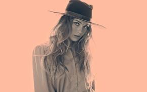 Zella day, girl, cowboy hats, musician, looking at viewer, nose rings