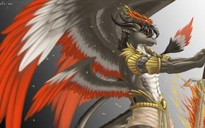 furry, wings, sword, dragon, Anthro