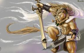 lion, sword, furry, Anthro