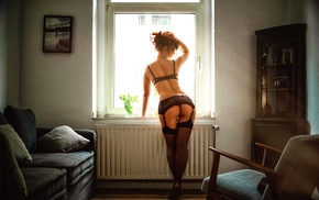 window, redhead, girl, lingerie, model, black lingerie