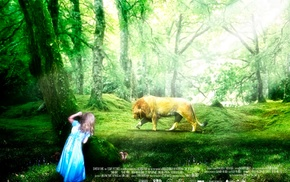 children, lion, forest clearing