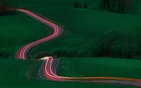 landscape, long exposure, light trails, road