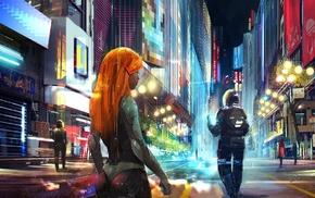 digital art, redhead, science fiction