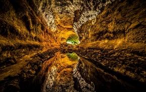 water, cave, landscape