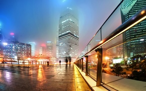 city, mist, long exposure, China, urban, city lights