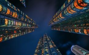 lights, skyscraper, urban, worms eye view