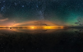 multiple display, stars, long exposure, landscape, night, lake