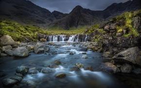waterfall, nature, landscape, mountains