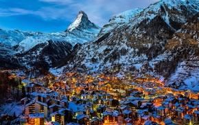 Zermatt, Alps, snow, Matterhorn