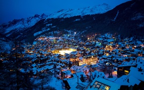 landscape, Switzerland, Alps, mountains, lights, snow