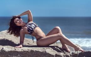 ass, girl, sky, rock, bikini, sea