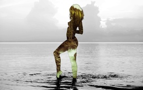 girl, sea, nude, nature, water, double exposure