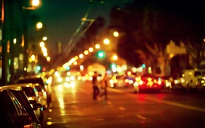 urban, city lights, city, bokeh, road