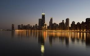 city, Chicago, city lights, reflection